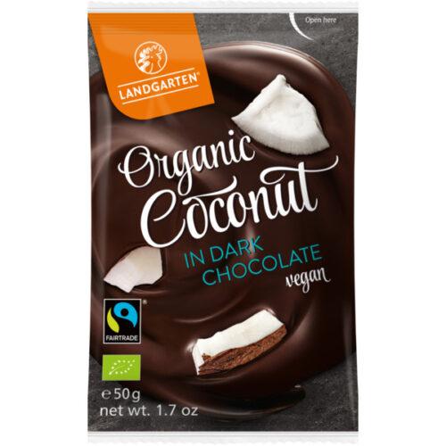 Landgarten Mahe Kookose krõbedik tumedas šokolaadis - 50g